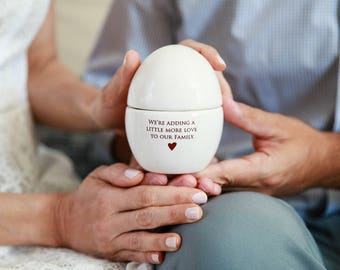 We're Expecting Announcement, We're Pregnant Announcement - Egg Keepsake Box - With Gift Box