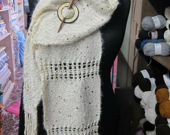 Handwoven white scarf