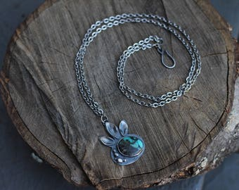 Turquoise and Silver Pod Necklace