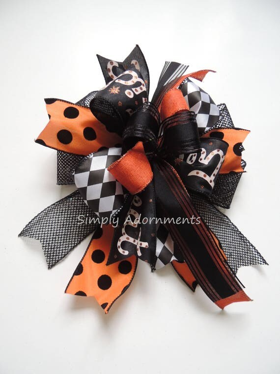 Black Orange Trick or Treat Wreath Bow Trick or Treat Harlequin Halloween Bow Funky Halloween Trick or Treat Swag Bow Halloween Gift Bow