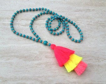 Neon Tassel Stack Necklace Turquoise Bead Tassel Necklace Hand Knotted Beaded Tassel Necklace Statement Necklace Layered Tassel Necklace