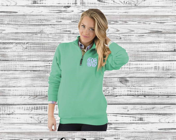 Monogram Quarter Zip Pullover, Christmas Gift, Gifts for Her, Monogrammed Quarter Zip - Charles River Crosswind Sweatshirt