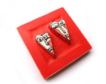 Valentine's day gift, Ceramic heart, Gift for couple, Red ceramic heart, 3D wall sculpture, Ceramic sculpture, Wall sculpture, Framed hearts