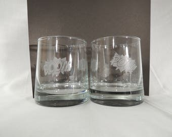 Comic Book Exclamation Set of 2 Rocks Liquor Glasses