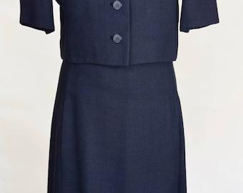 VIntage 1960s Black Dress and Jacket Suit by Jean Louis Bergdorf Godman S/M
