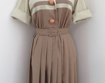 vtg JOAN FREDERICS California shirt dress M two tone