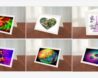 Original Art Greeting Cards-Pkg of 6 different  cards With Envelopes and photo frames