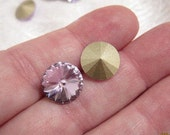 12mm, Swarovski, Art 1122, Faceted Crystal Rivoli, Violet, Foiled, Undrilled - Available in 2, 4, 6 & 10 Stone Pkgs and also in Larger Pkgs