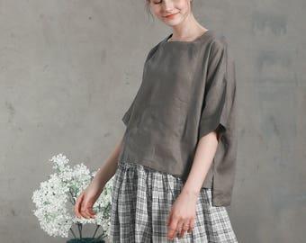 linen blouse shirt in gray, loose fitting linen tunic, half sleeve tops, square neckline shirt blouse, oversized top, linen kimono, plus