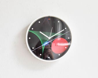 Vintage 80s wall clock, Kienzle wall clock, glass clock, 80s home decor, Kienzle boutique