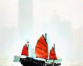 Watercolor Print - HongKong Junk - seacape