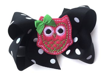 Owl hair bow - owl bow, fall hair bow, 4 inch bows, black bows, boutique bows, girls hair bows, toddler bows, halloween bows