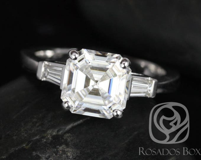 Featured listing image: Rosados Box Fae 8mm 14kt White Gold Asscher F1- Moissanite and Diamond Baguette Engagement Ring