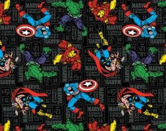 Marvel Comics Fabric, Superhero Toss, Captain America, Incredible Hulk, Thor, Iron Man, Avengers, Quilting Cotton, By the Half Yard