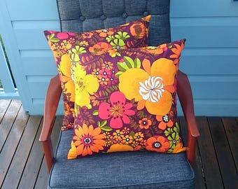 Flower power orange cushion cover