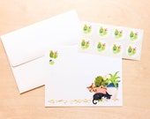 Note Card Set: Cute Cats and Cactus Stationery // thank you cards // cute cards // cat cards // animal cards