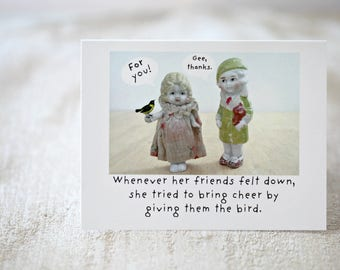 "Blank Doll Friendship Card ""The Bird"" Bisque Doll Friend Stationary (1)"