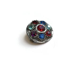 Vintage Brooch With Multi Coloured Glass Gemstones | Circular Silver Tone Pin