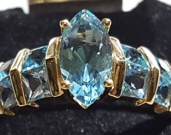 Genuine 14k Gold Multi-Stone Swiss Blue Topaz Ring-Sz 8