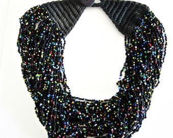 Multi Strand Bead Necklace - Black Yellow Blue Green Red White Beads