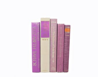 Purple Orchid Decorative Books, Rustic Old Book Decor, Shabby CHic Book Collection, book set, VIntage Book COllection, Books for decoration