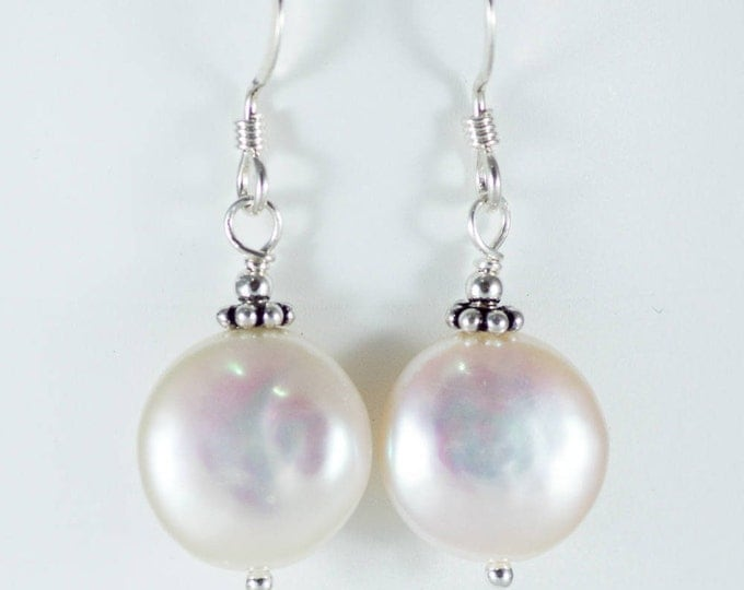 White Fresh Water Pearl Earrings - Coin Shape