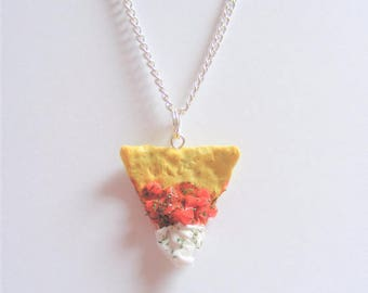 Food Jewelry Nacho and Salsa Necklace, Nacho Pendant, Tortilla Chip Necklace, Miniature Food Jewelry, Mexican Food Jewelry, Mini Food Kawaii