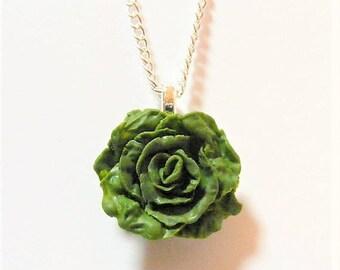 Food Jewelry, Lettuce Necklace, Lettuce Pendant, Miniature Food Jewelry, Gift for Vegetarian, Mini Food Pendant, Vegetarian Jewelry, Vegan