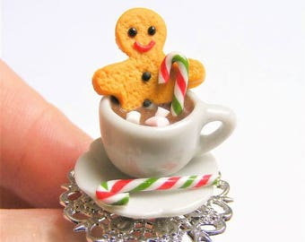 Food Jewelry, Gingerbread Man Ring, Man in Hot Chocolate Ring, Miniature Food Ring, Christmas Jewelry,Mini Food Jewelry,Christmas Ring, xmas
