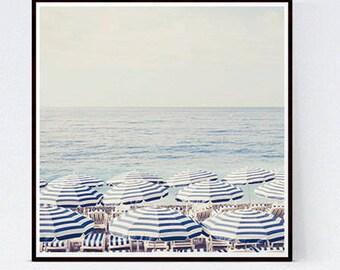 Beach photography print, Aerial Beach Print, Beach Umbrella Art Print, Blue wall decor, Large Art print, Beach wall art, French Riviera