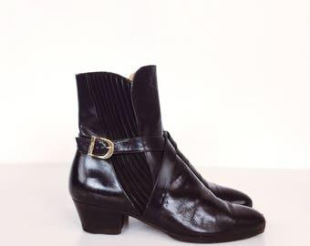 Designer Salvatore Ferragamo Black Leather Strappy Buckled Military Chelsea Ankle Boots // Women's size 5.5