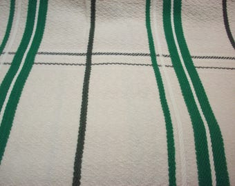 BATES TWIN BEDSPREAD Green Mid-Century Camp Blanket Cabin Trailer Coverlet Re Purpose Project