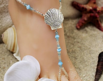 Rhinestone Beach Sandal Seashell Bridal Foot Jewelry Beach Wedding Barefoot Sandals Foot Jewelry Something Blue Anklet Barefoot Sandles