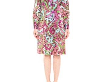 1960s Psychedellic Print Shirt Dress Size: 6