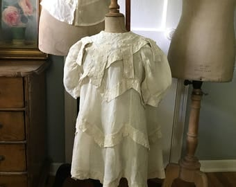 1905 French Ecru Linen Childs Dress, Handsewn, Dotted Swiss Embroidery, French Farmhouse