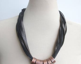 Textured Black Leather Cord Necklace, Copper Rings, Statement Necklace, Multi Strand Leather Bib for Women