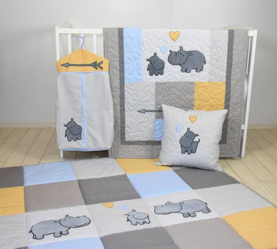 Hippo Baby Quilt, Hunt Playmat, Neutral Baby Bedding, Safari Baby Room Decor, Playroom Decor, Gray Yellow Blue colors