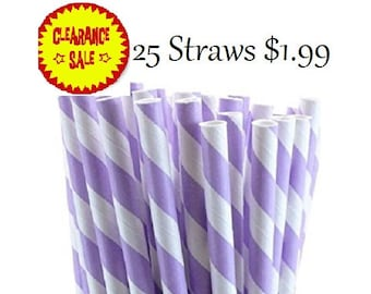 Lavender and White Striped Paper Straws