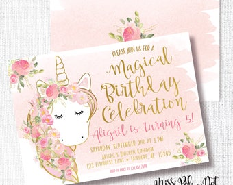 UNICORN invitation, birthday party, watercolor, magical birthday invite, pink gold glitter, blush pink, floral, soft pink