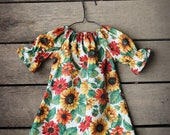 Girls Dress, Sunflower Fall Floral three quarter length long sleeve peasant dress, Thanksgiving, coming home outfit, toddler, NB to 11/12