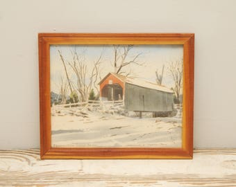 Original Painting Watercolor Pennsylvania Covered Bridge