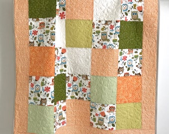 Modern Baby Girl Quilt featuring Adorable Owls White Brown Coral Grey Orange Light Blue Tan Green