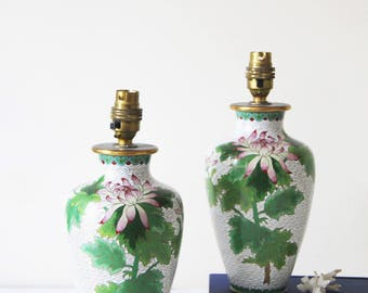 Vintage Cloisonne Lamps - Pair of Vintage Floral Pattern Cloisonne Table Lamps - Chinoiserie Chic