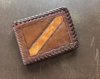 Tooled Wallet - Brown Leather Vintage Billfold