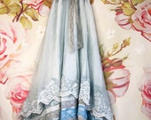 muted French blue asymmetrical tiered lace boho wedding dress by mermaid miss Kristin