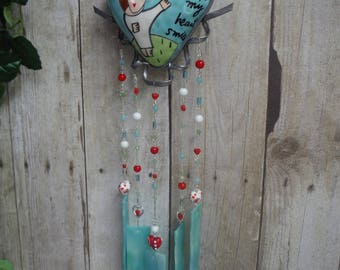 You Make My Heart Smile WInd Chime, Rattle in Turquoise