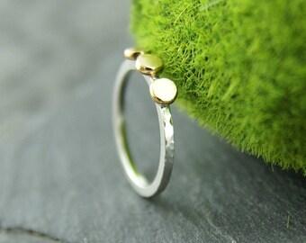 Klondike ring, gold nugget, stack ring, silver and gold stack ring, hammered ring, engagement ring, thin band, 14K gold ring, 925 silver