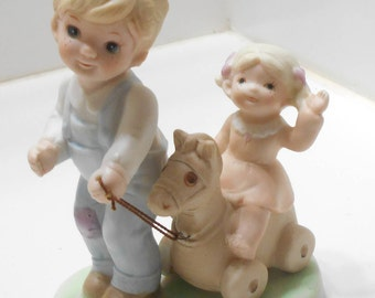 Vintage Homco Father Pulling Toddler on Horse Pull Toy (27)  Home Interiors #1450
