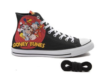 Black Converse Looney Tunes High Top Record Cartoon Collage Custom Kicks w/ Swarovski Crystal Rhinestone Chuck Taylor All Star Sneakers Shoe