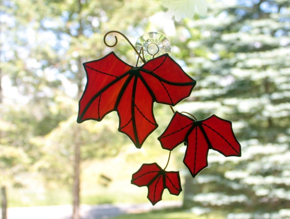 Stained Glass Red Maple Tree Branch with Leaves Sun Catcher
